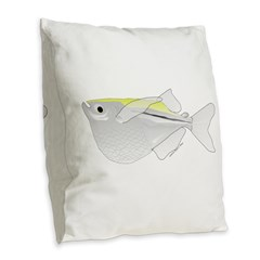 Silver Hatchetfish f Burlap Throw Pillow