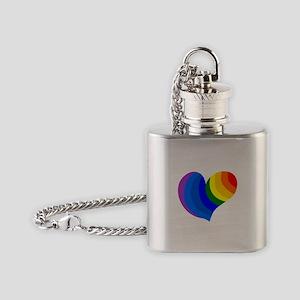 Deco Rainbow PRIDE heart Flask Necklace