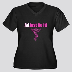 Adjust Do It Women's Plus Size V-Neck Dark T-Shirt