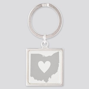 Heart Ohio Square Keychain