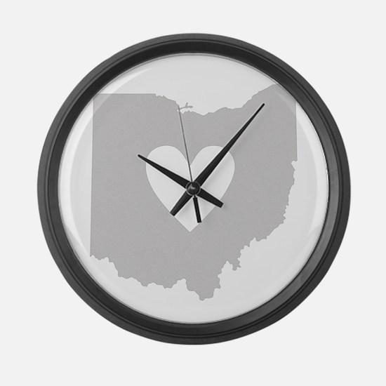 Heart Ohio Large Wall Clock