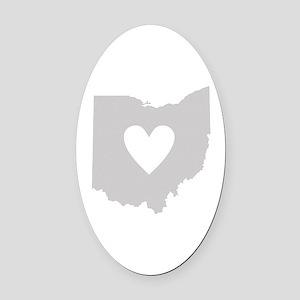 Heart Ohio Oval Car Magnet