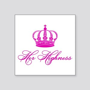 Her Highness text design with an old crown Sticker