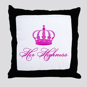 Her Highness text design with an old crown Throw P