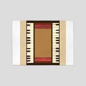 Piano Keys Music Bone Ivory 5'x7'Area Rug