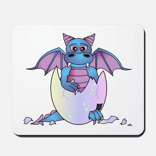 Cute Baby Dragon in Cracked Egg Blue and Purple Mo