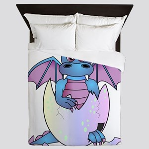 Cute Baby Dragon in Cracked Egg Blue and Purple Qu