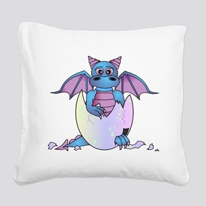 Cute Baby Dragon in Cracked Egg Blue and Purple Sq