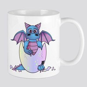 Cute Baby Dragon in Cracked Egg Blue and Purple Mu