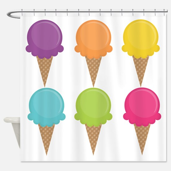 Colorful Waffle Cones Shower Curtain