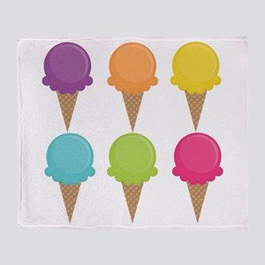 Colorful Waffle Cones Throw Blanket