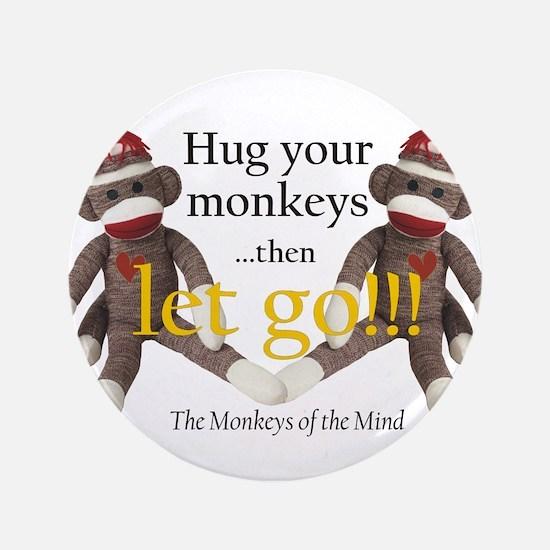 "Sock Monkey Letting Go 3.5"" Button"