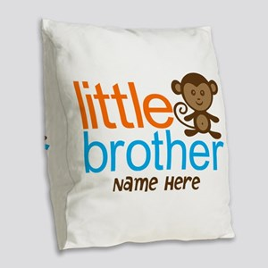 Personalized Monkey Little Brother Burlap Throw Pi