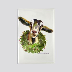 Christmas Goat Rectangle Magnet