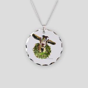 Christmas Goat Necklace Circle Charm