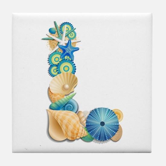 Beach Theme Initial L Tile Coaster