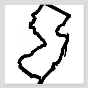 "Jersey Outline Square Car Magnet 3"" x 3"""