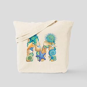 Beach Theme Initial M Tote Bag