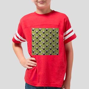 Cute Pug Faces on Green Hound Youth Football Shirt