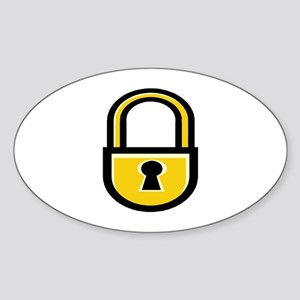 Closed Padlock Oval Sticker