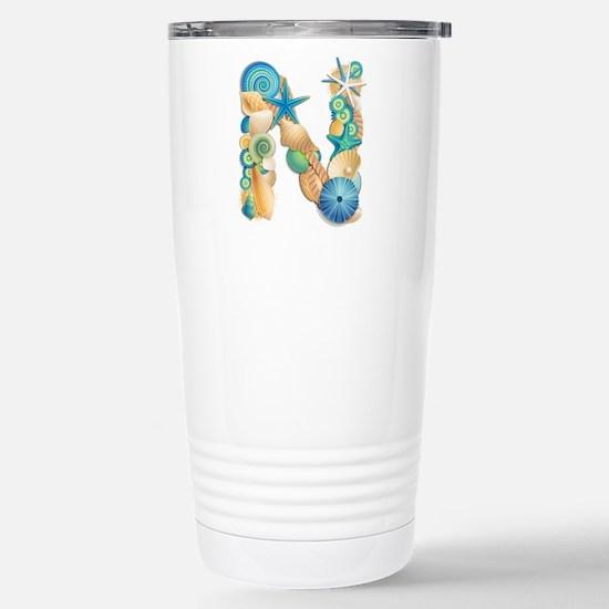 Beach Theme Initial N Travel Mug