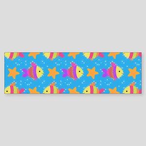 Cute Fish And Starfish Pattern Bumper Sticker