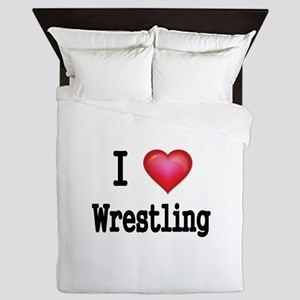 I LOVE WRESTLING Queen Duvet