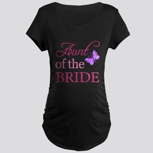 Aunt Of The Bride (Butterfly) Maternity Dark T-Shi