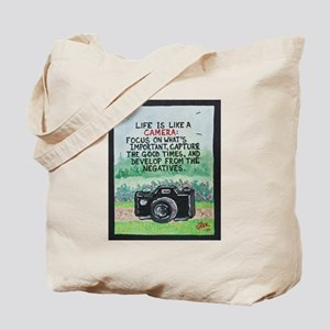 """ LIFE is like a Camera "" / Sculpted Art Tote Bag"