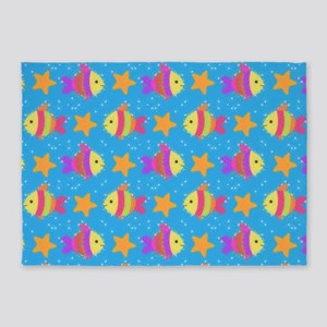 Cute Fish And Starfish Pattern 5'x7'Area Rug