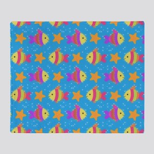 Cute Fish And Starfish Pattern Throw Blanket