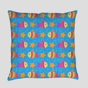 Cute Fish And Starfish Pattern Everyday Pillow