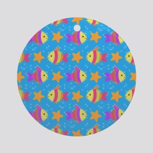 Cute Fish And Starfish Pattern Round Ornament