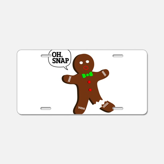 Oh Snap Gingerbread Man Aluminum License Plate