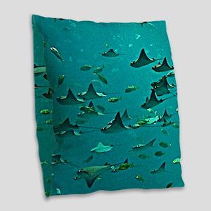 Stingrays Burlap Throw Pillow