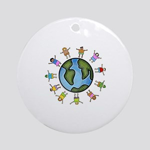 peace love multicultural children Ornament (Round)
