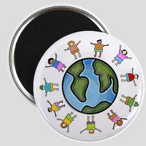peace love multicultural children Magnet