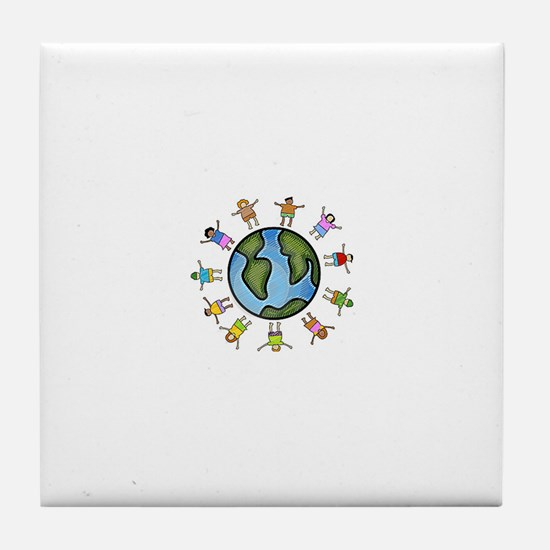 peace love multicultural children Tile Coaster