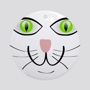 Green-Eyed Cat Face Ornament (Round)