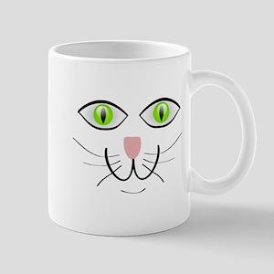 Green-Eyed Cat Face Mug