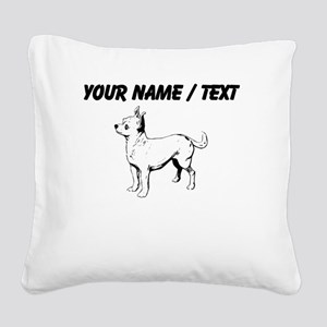 Custom Chihuahua Sketch Square Canvas Pillow