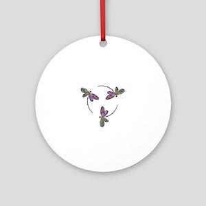 Neon Dragonfly Trinity Ornament (Round)