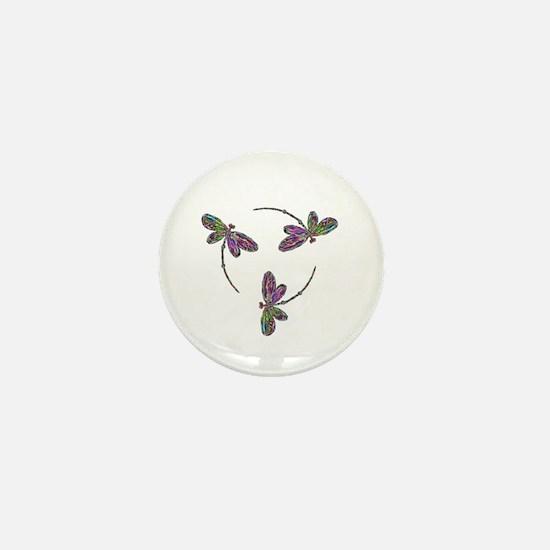 Neon Dragonfly Trinity Mini Button
