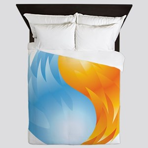 Fire and Ice - Yin Yang - Balance Queen Duvet