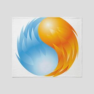 Fire and Ice - Yin Yang - Balance Throw Blanket