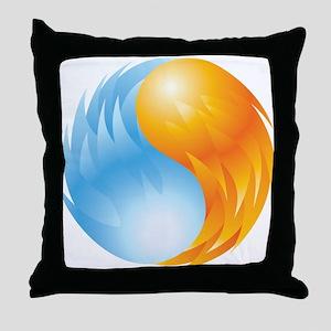 Fire and Ice - Yin Yang - Balance Throw Pillow