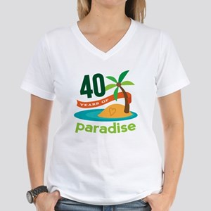 40th Anniversary (Tropical) Women's V-Neck T-Shirt
