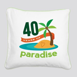 40th Anniversary (Tropical) Square Canvas Pillow