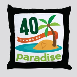 40th Anniversary (Tropical) Throw Pillow