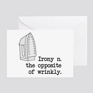 Irony the opposite of wrinkly greeting cards cafepress irony greeting card m4hsunfo